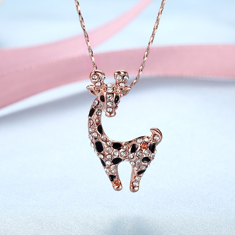 Wholesale New Temperamet Cute Full Crystal Deer rose gold Jewelry Fashion Personality Christmas Animal Necklaces TGGPN040 1