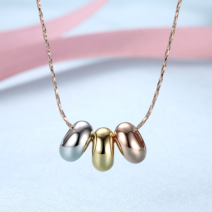 Wholesale High quality Three-color beads Necklace Rose Gold Circle Chain Link Necklace For Women temperament jewelry TGGPN056 1