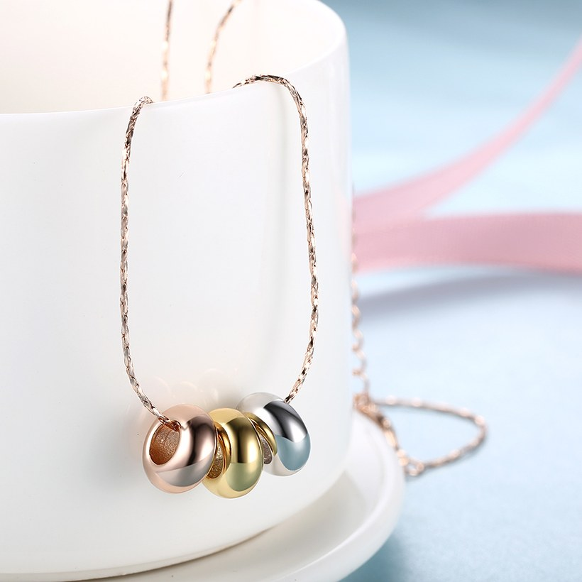 Wholesale High quality Three-color beads Necklace Rose Gold Circle Chain Link Necklace For Women temperament jewelry TGGPN056 2