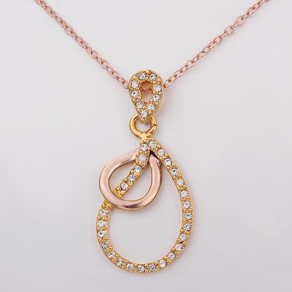 Wholesale Vintage rose Gold Plated Double Loops Zircon Necklace High Quality Women Collarbone Chains The New Listing Fine Jewelry TGGPN066 2