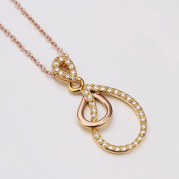 Wholesale Vintage rose Gold Plated Double Loops Zircon Necklace High Quality Women Collarbone Chains The New Listing Fine Jewelry TGGPN066 3