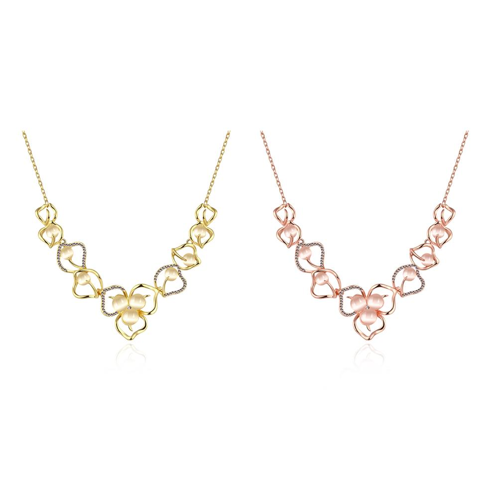 Wholesale Romantic 18K Gold Plated Rhinestone Necklace Flower Pendant Chains Link Necklaces Female Accessories Fashion Jewelry TGGPN430 2