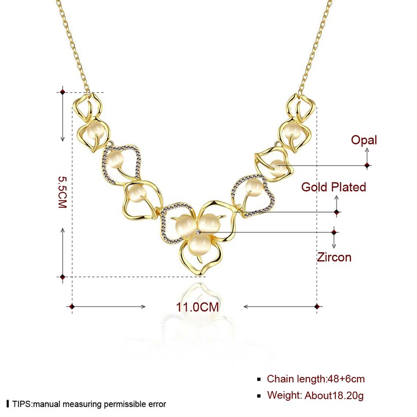 Wholesale Romantic 18K Gold Plated Rhinestone Necklace Flower Pendant Chains Link Necklaces Female Accessories Fashion Jewelry TGGPN430 6