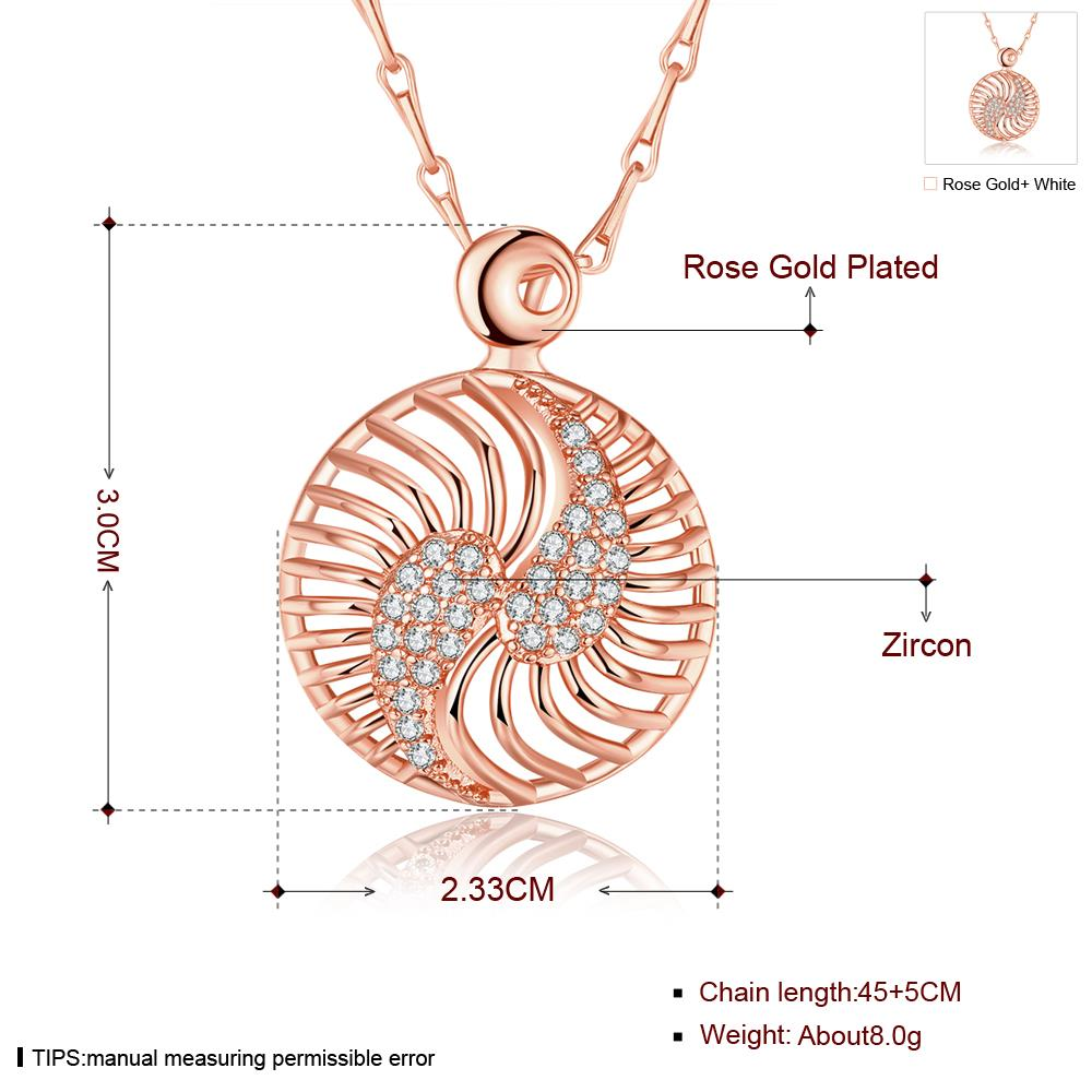 Wholesale Hollow rose gold round Pendant Necklace Jewelry for Women Girls Cubic Zircon Cut Out Fashion Wedding Party Trendy Jewelry TGGPN104 0