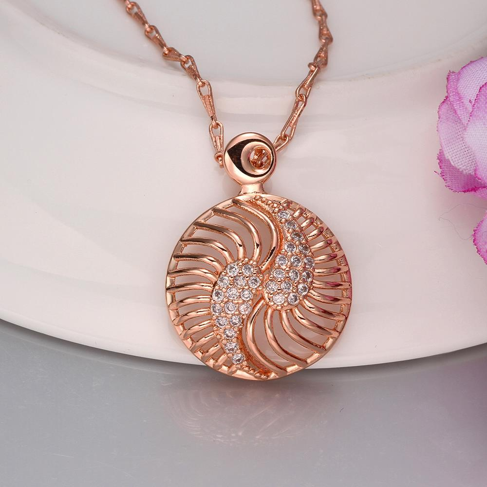 Wholesale Hollow rose gold round Pendant Necklace Jewelry for Women Girls Cubic Zircon Cut Out Fashion Wedding Party Trendy Jewelry TGGPN104 1