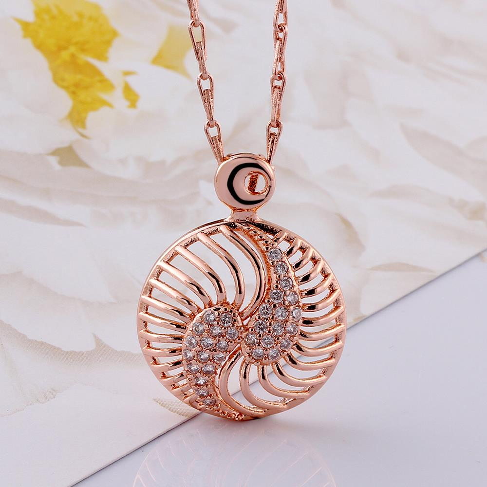 Wholesale Hollow rose gold round Pendant Necklace Jewelry for Women Girls Cubic Zircon Cut Out Fashion Wedding Party Trendy Jewelry TGGPN104 2