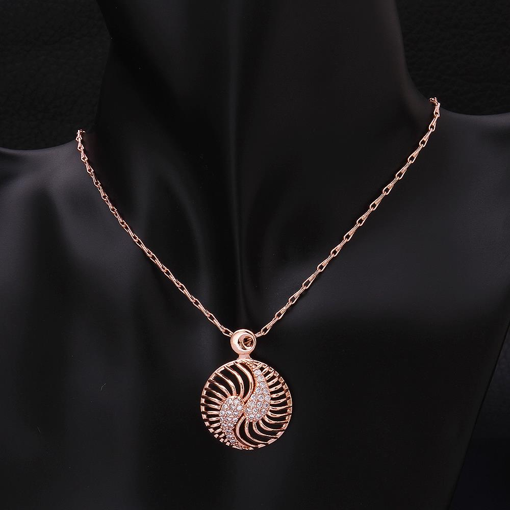 Wholesale Hollow rose gold round Pendant Necklace Jewelry for Women Girls Cubic Zircon Cut Out Fashion Wedding Party Trendy Jewelry TGGPN104 3