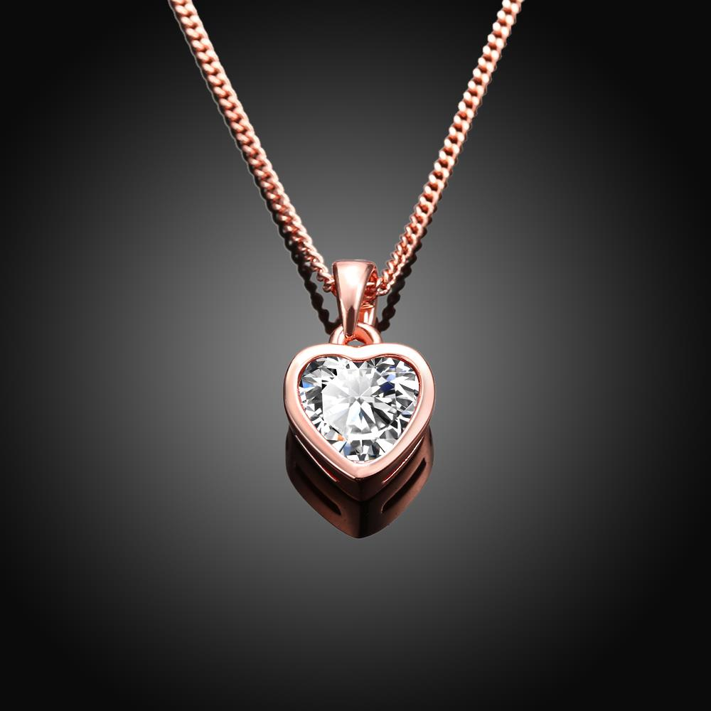 Wholesale JapanKorea Hot Sell rose Gold crystal Necklace for women Girls Love Memory Heart Necklace Valentine's Day Gift Couple Jewelery TGGPN039 2