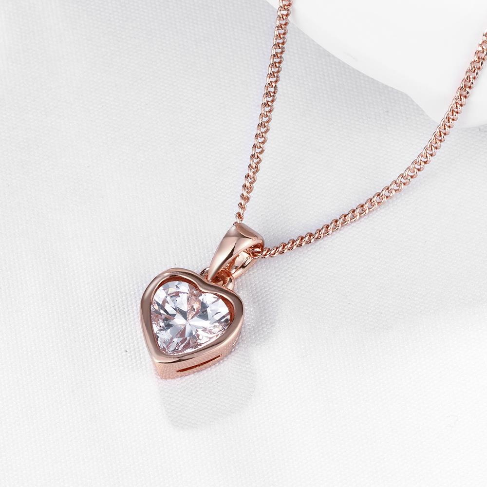 Wholesale JapanKorea Hot Sell rose Gold crystal Necklace for women Girls Love Memory Heart Necklace Valentine's Day Gift Couple Jewelery TGGPN039 3