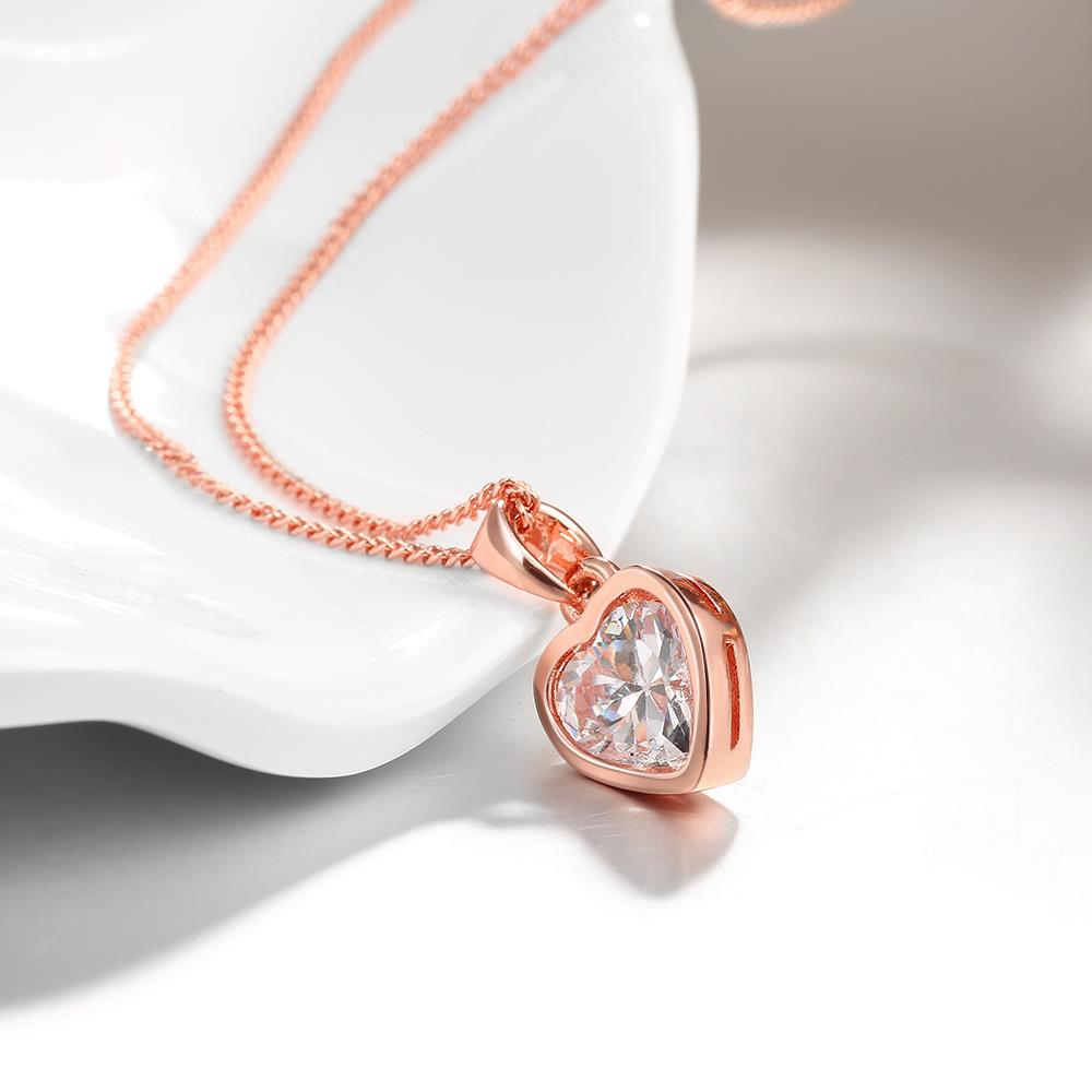 Wholesale JapanKorea Hot Sell rose Gold crystal Necklace for women Girls Love Memory Heart Necklace Valentine's Day Gift Couple Jewelery TGGPN039 4
