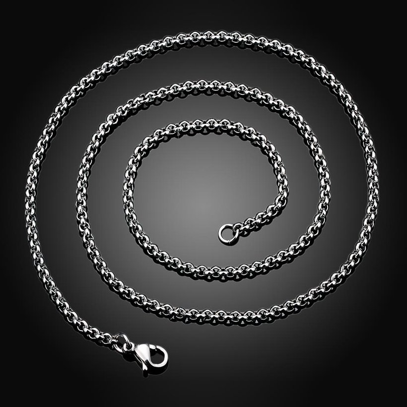 Wholesale Trendy Rhodium Round Chain Nceklace TGCN001 1
