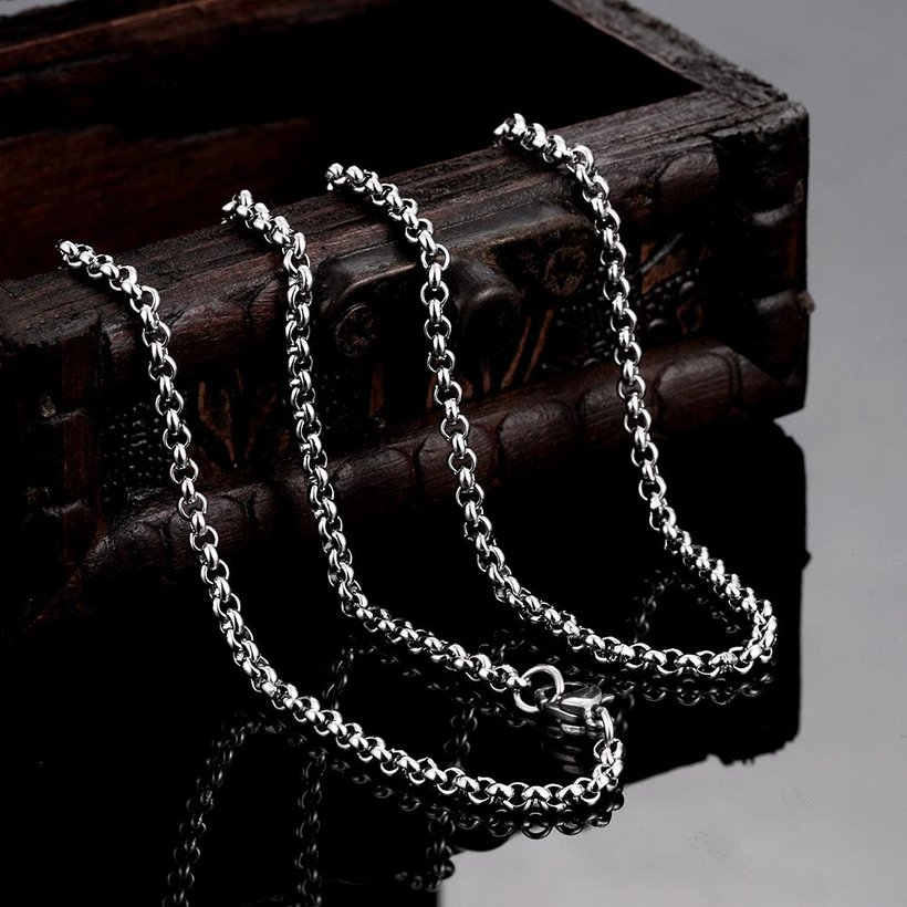 Wholesale Trendy Rhodium Round Chain Nceklace TGCN001 2