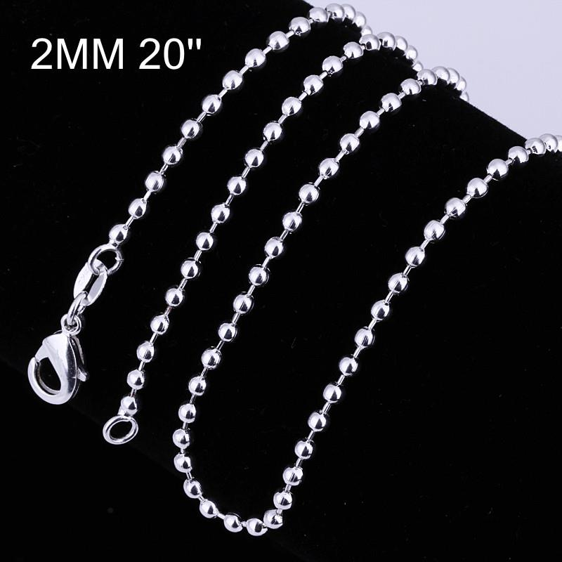 Wholesale Trendy Silver Ball Chain Nceklace TGCN045 2