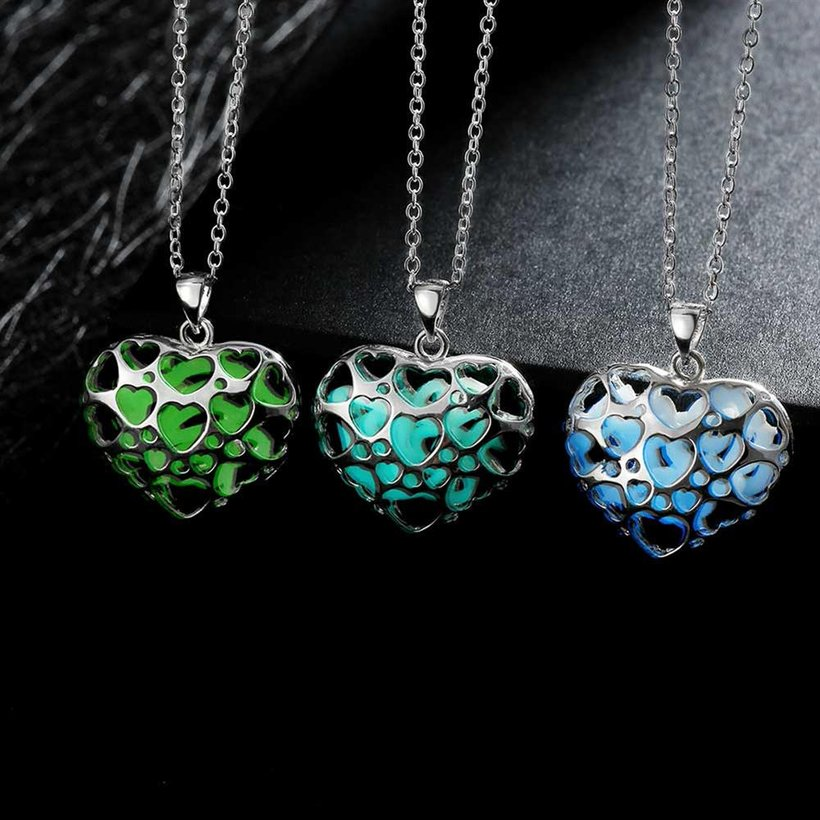 Wholesale Romantic Silver Heart Necklace TGLP116 2