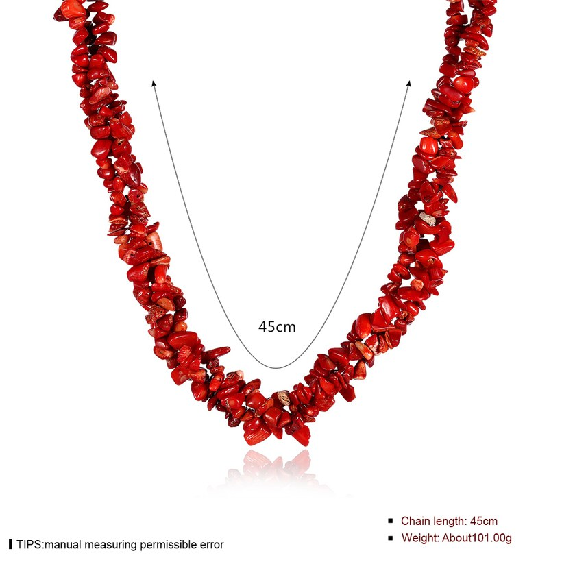 Wholesale Vintage Geometric Red Crystal Necklace TGNSP075 0