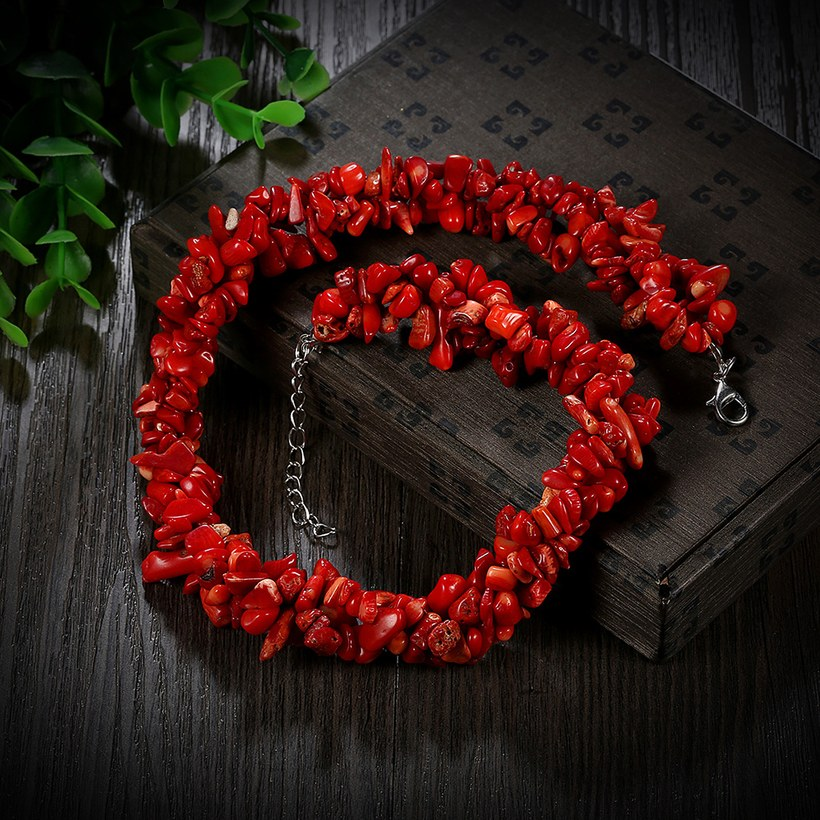 Wholesale Vintage Geometric Red Crystal Necklace TGNSP075 1