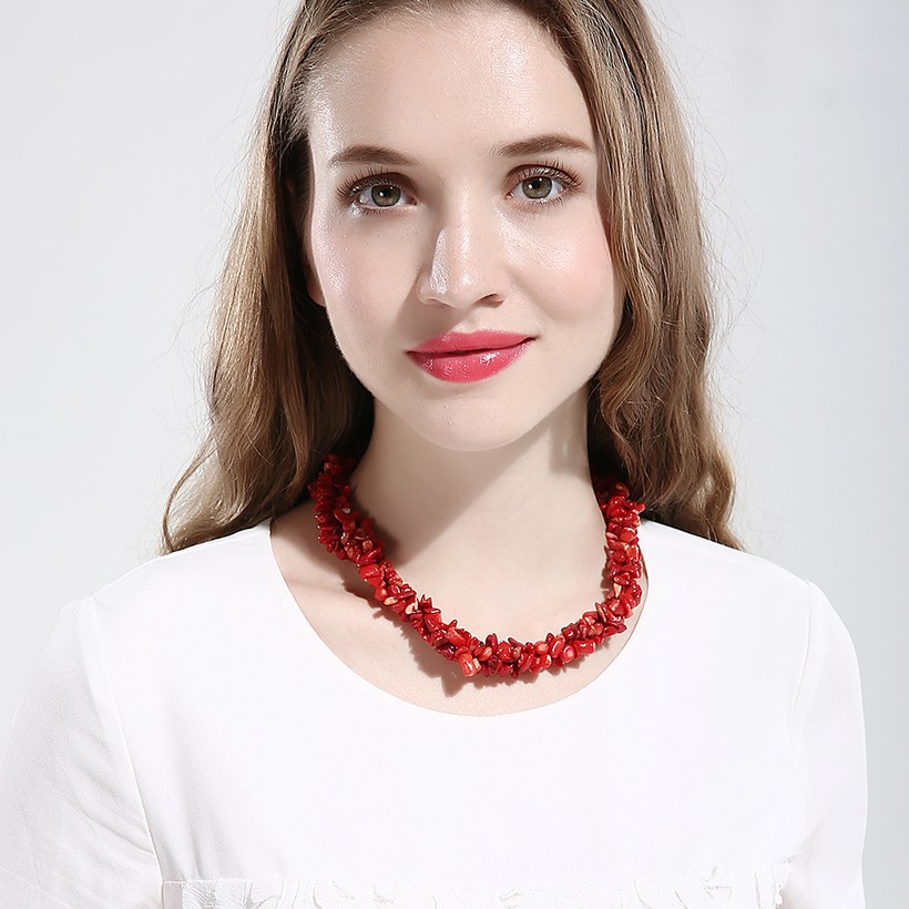 Wholesale Vintage Geometric Red Crystal Necklace TGNSP075 4