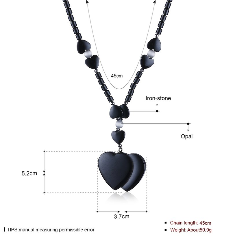 Wholesale Vintage Rhodium Heart Semi-precious Stone Necklace TGNSP020 0