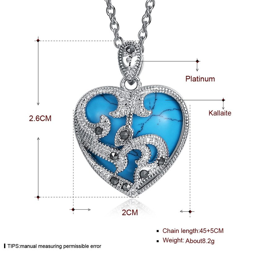 Wholesale Fashion Platinum Heart Kallaite Necklace TGNSP005 3