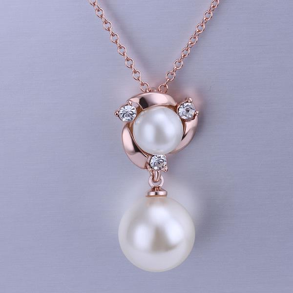 Wholesale Classic Rose Gold Plant Pearl Necklace TGPP060 1