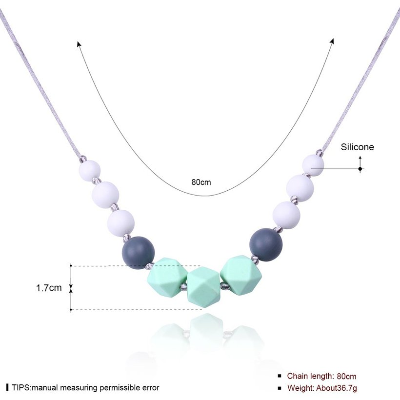 Wholesale Bohemia Geometric Silicone Multicolor Necklace TGSN007 4