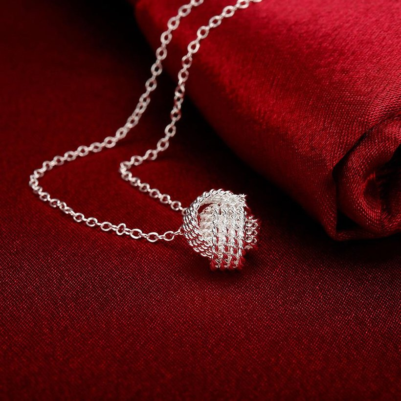 Wholesale Trendy Silver Ball Necklace TGSPN473 3