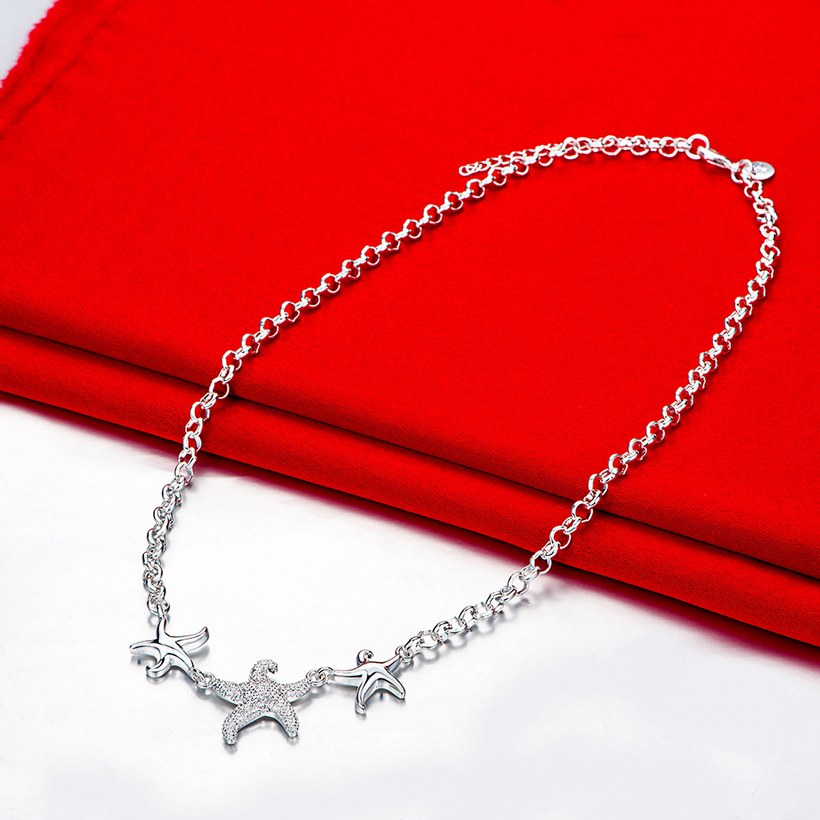 Wholesale Trendy Silver 3 Starfish Animal Necklace TGSPN535 1