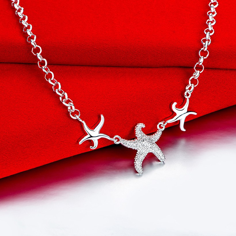 Wholesale Trendy Silver 3 Starfish Animal Necklace TGSPN535 2