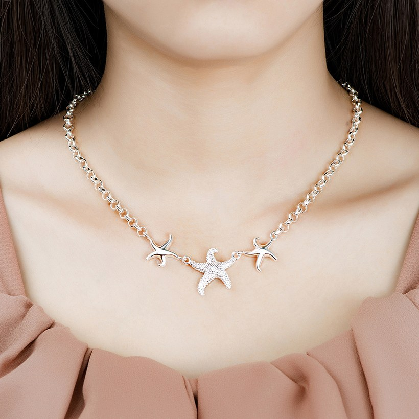 Wholesale Trendy Silver 3 Starfish Animal Necklace TGSPN535 4