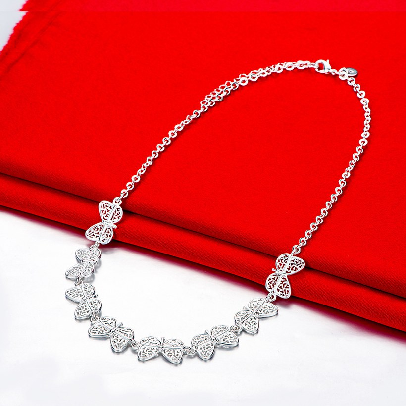 Wholesale Trendy Silver Insect Butterfly Necklace TGSPN539 1