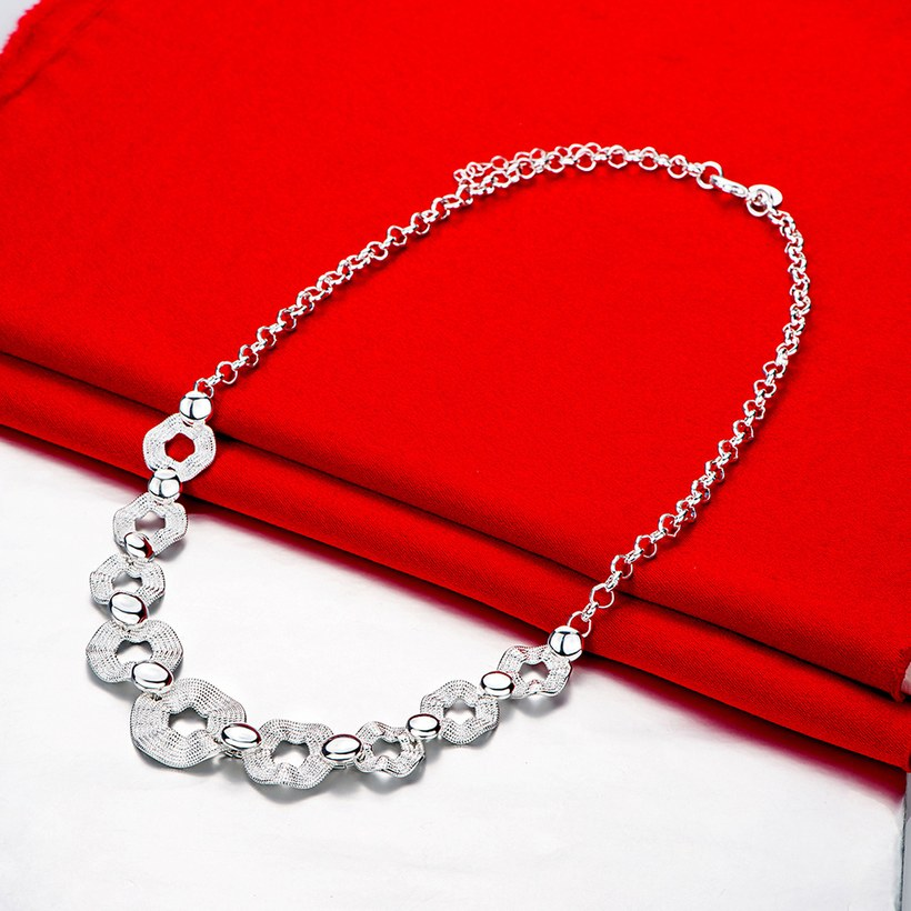 Wholesale Trendy Silver Geometric Wave Necklace TGSPN546 1