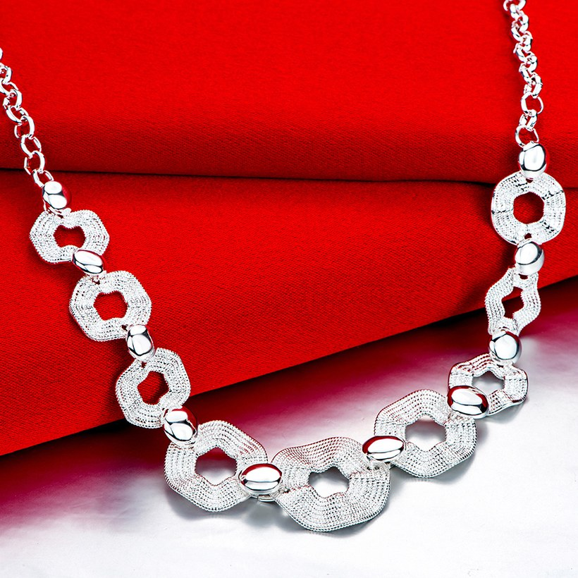 Wholesale Trendy Silver Geometric Wave Necklace TGSPN546 2