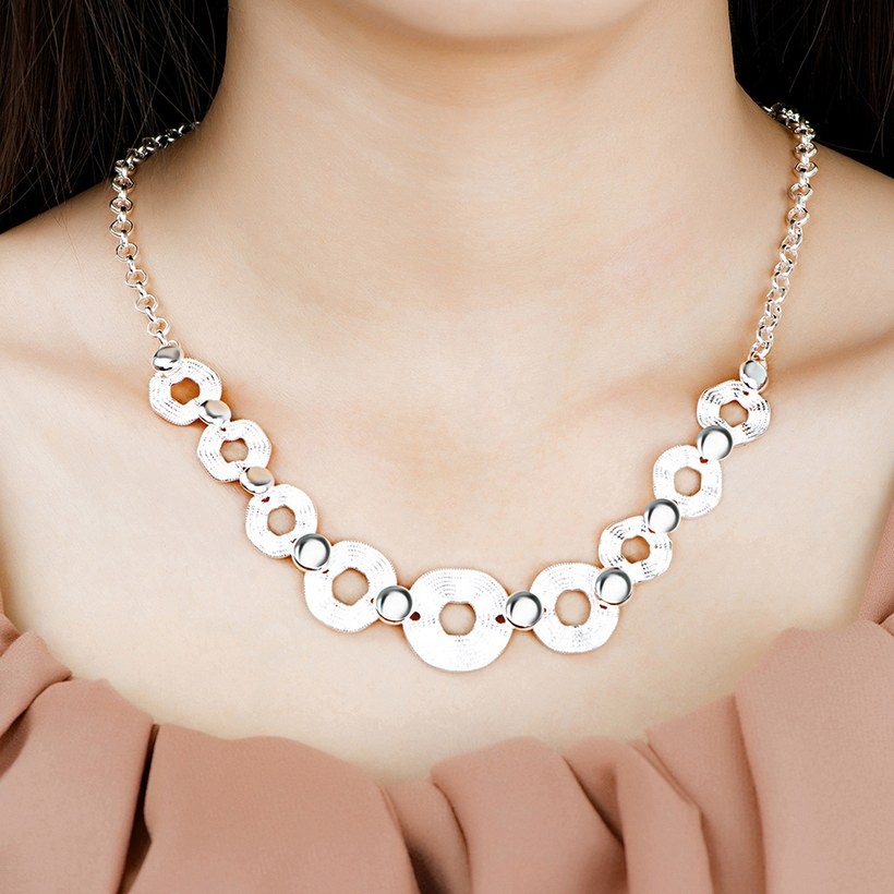 Wholesale Trendy Silver Geometric Wave Necklace TGSPN546 4