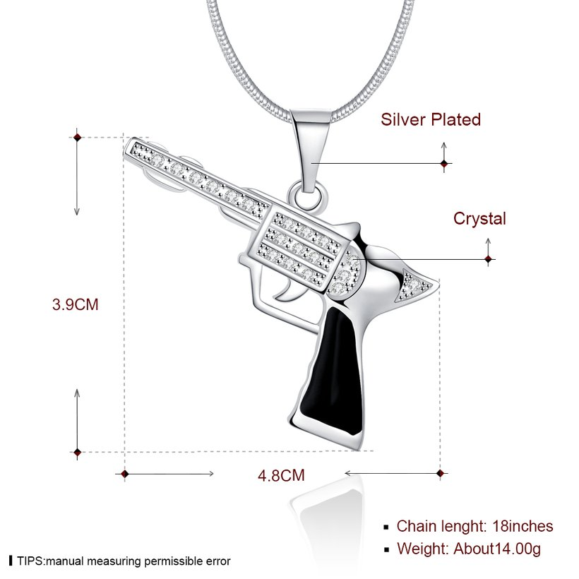 Wholesale Trendy Silver Gun Crystal Necklace TGSPN404 0