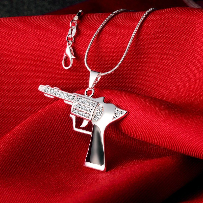 Wholesale Trendy Silver Gun Crystal Necklace TGSPN404 1