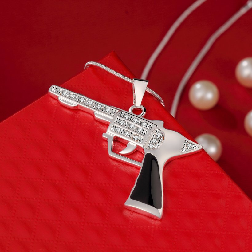Wholesale Trendy Silver Gun Crystal Necklace TGSPN404 2