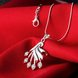 Wholesale Trendy Silver Fan Crystal Necklace TGSPN414 1