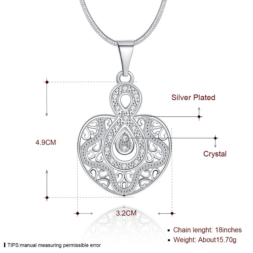 Wholesale Silver Heart Crystal Necklace TGSPN444 0