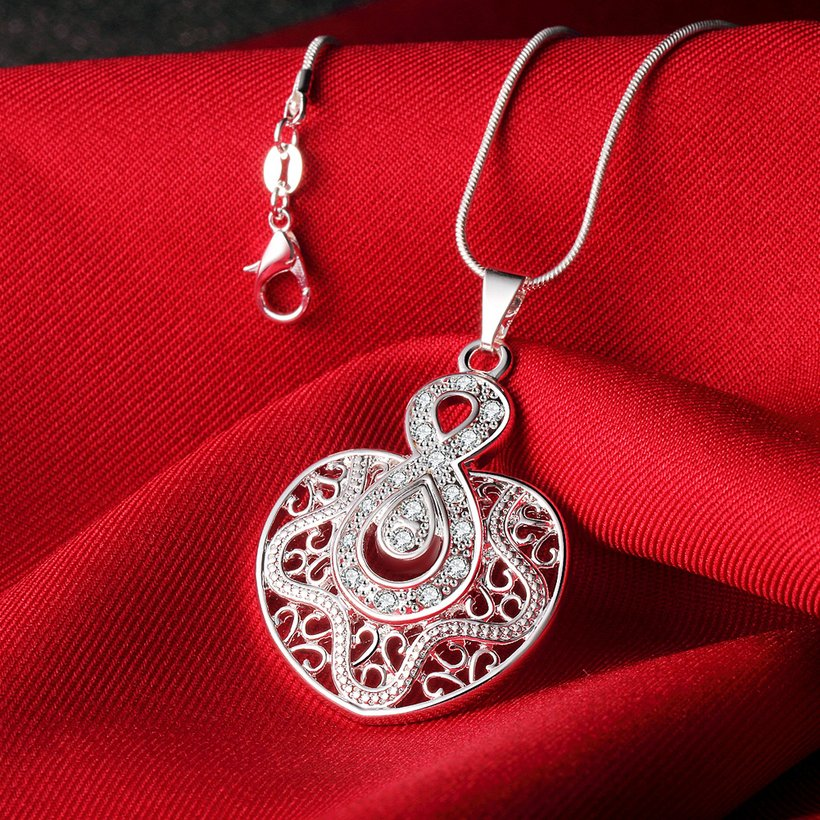 Wholesale Silver Heart Crystal Necklace TGSPN444 1