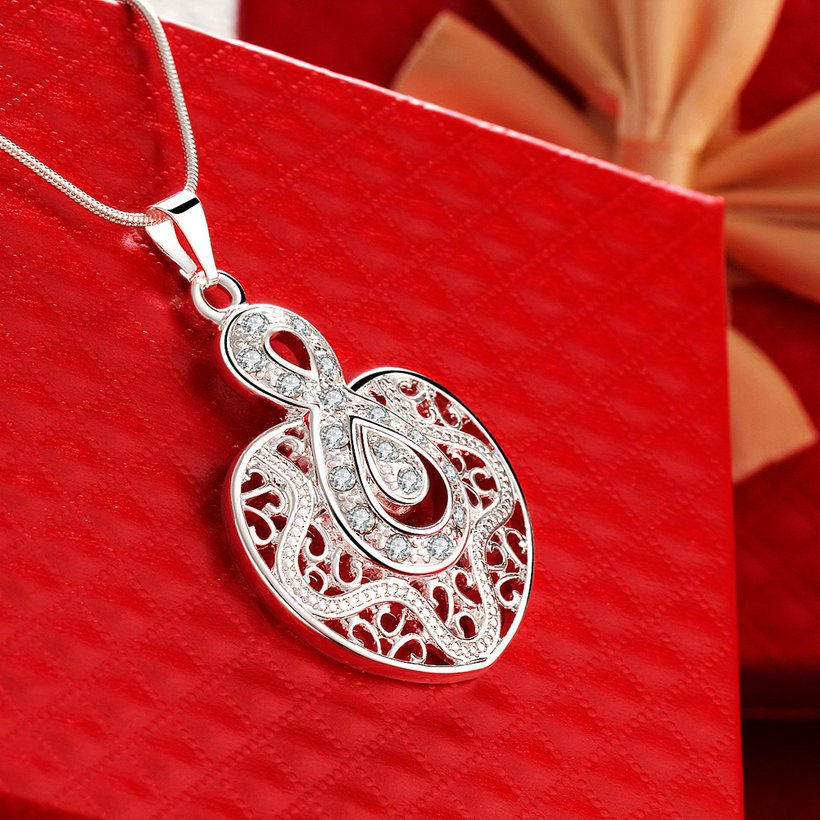 Wholesale Silver Heart Crystal Necklace TGSPN444 3