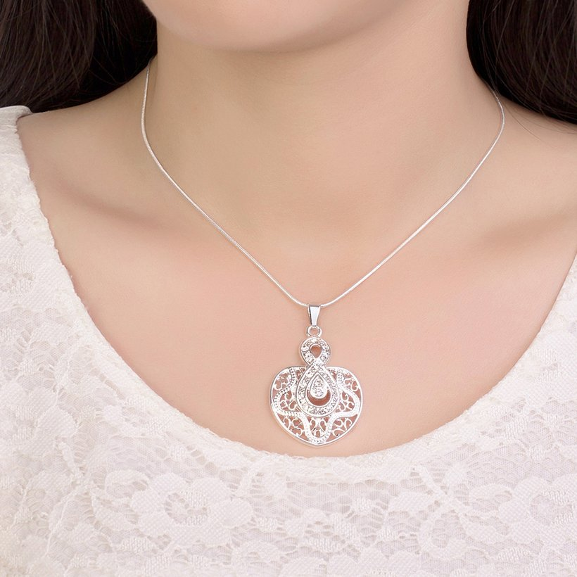 Wholesale Silver Heart Crystal Necklace TGSPN444 4