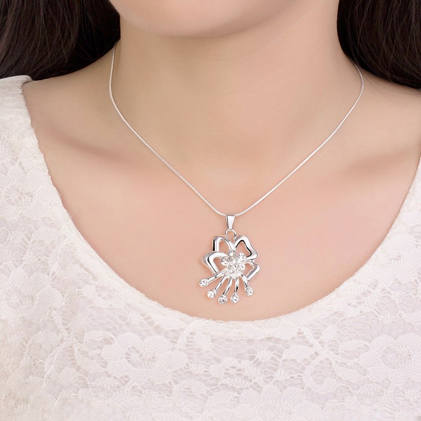Wholesale Fashion Silver Hollow Bow Crystal Necklace Free Shipping TGSPN454 4