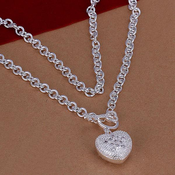 Wholesale Trendy Silver Heart Necklace TGSPN529 0