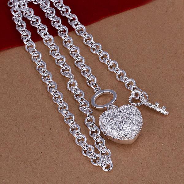 Wholesale Trendy Silver Heart Necklace TGSPN529 1