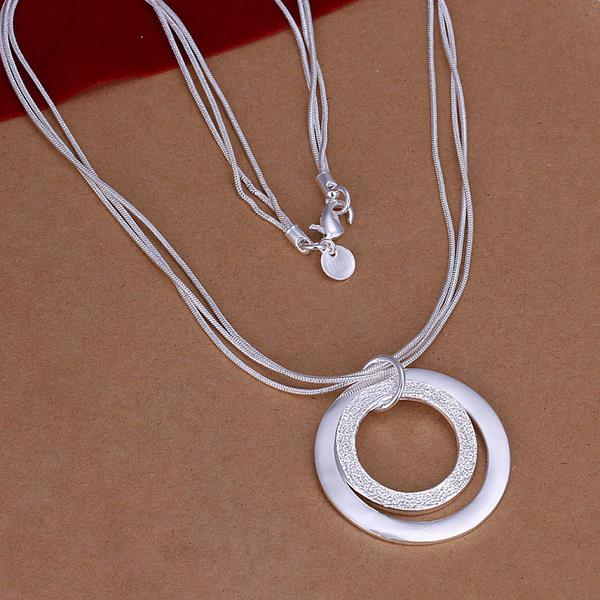 Wholesale Romantic Silver Round Necklace TGSPN601 0
