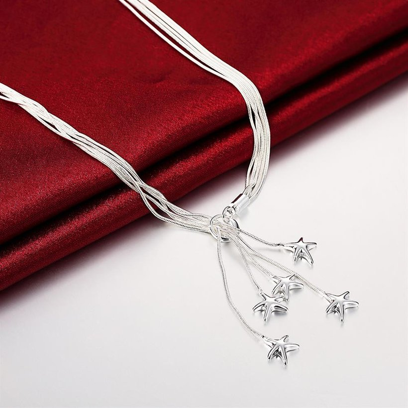 Wholesale Classic Silver Star Necklace TGSPN633 3
