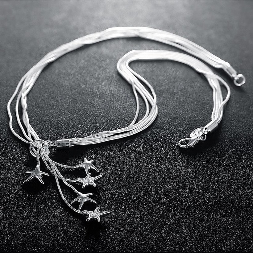 Wholesale Classic Silver Star Necklace TGSPN633 4