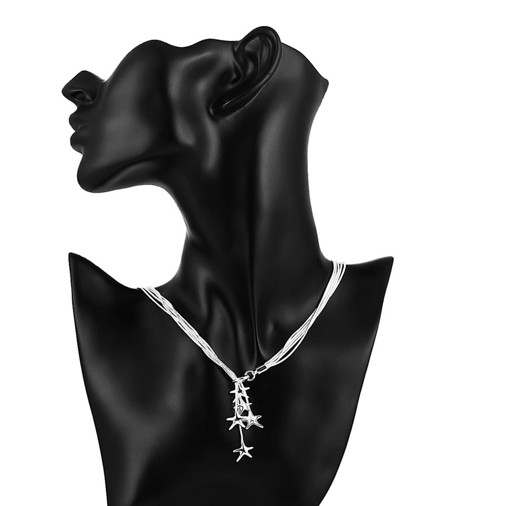 Wholesale Classic Silver Star Necklace TGSPN633 5