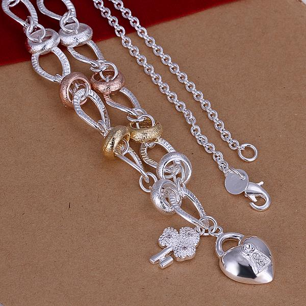 Wholesale Romantic Silver Heart Necklace TGSPN043 0