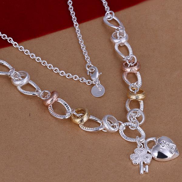 Wholesale Romantic Silver Heart Necklace TGSPN043 1